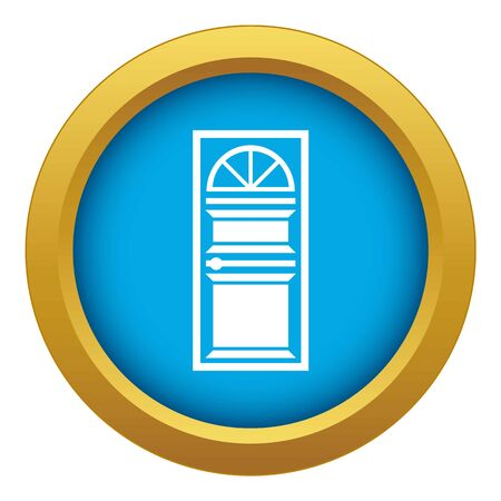 Door with an arched glass icon blue vector isolated