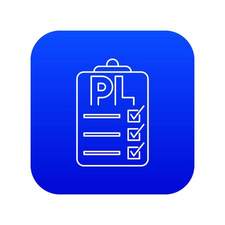 Clipboard with PL icon blue vector isolated on white background