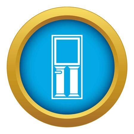 Wooden door with glass icon blue vector isolated Ilustración de vector