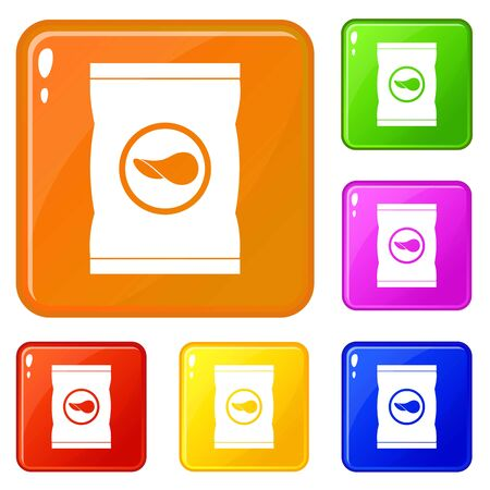 Chips plastic bag icons set collection vector 6 color isolated on white background Illustration