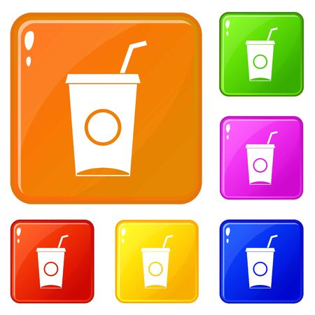 Soft drink in paper cup icons set collection vector 6 color isolated on white background Ilustração