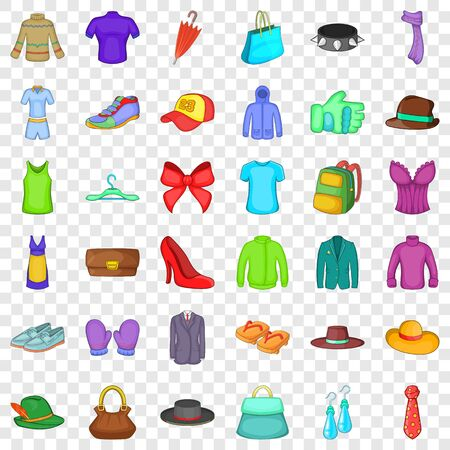 Outfit icons set, cartoon style