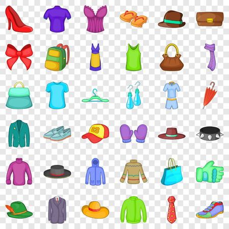 Fashion thing icons set, cartoon style Stock Illustratie