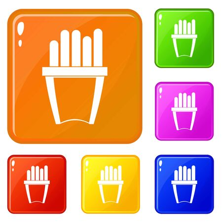 Portion of french fries icons set collection vector 6 color isolated on white background