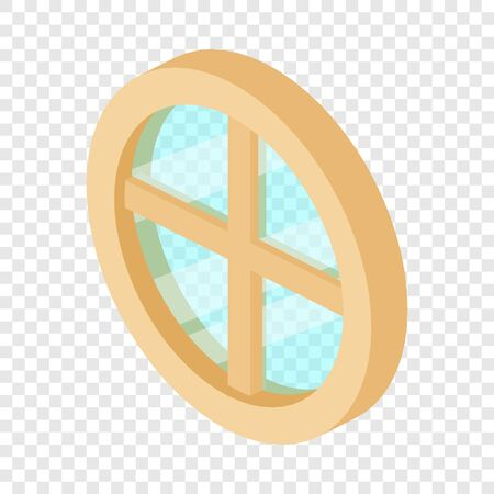 Round window frame icon, isometric 3d style