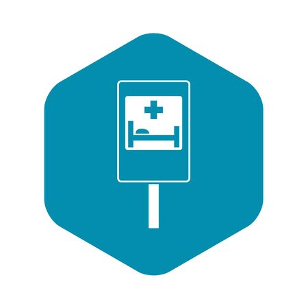 Symbol of hospital road sign icon. Simple illustration of symbol of hospital road sign vector icon for web