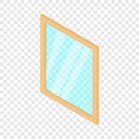 Metal-plastic window frame icon, isometric 3d style