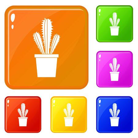 Cactus in flower pot icons set collection vector 6 color isolated on white background