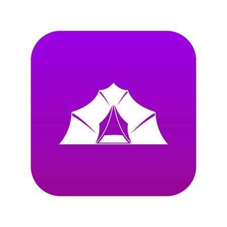 Hiking and camping tent icon digital purple for any design isolated on white vector illustration