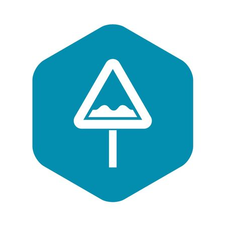 Uneven triangular road sign icon, simple style Иллюстрация