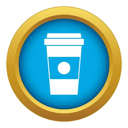 Paper cup of coffee icon blue vector isolated on white background for any design