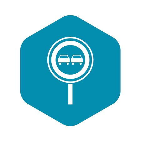No overtaking sign icon. Simple illustration of no overtaking sign vector icon for web Vettoriali