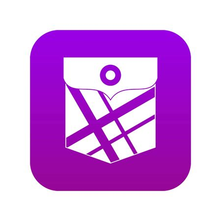 Black pocket patch icon digital purple for any design isolated on white vector illustration Çizim