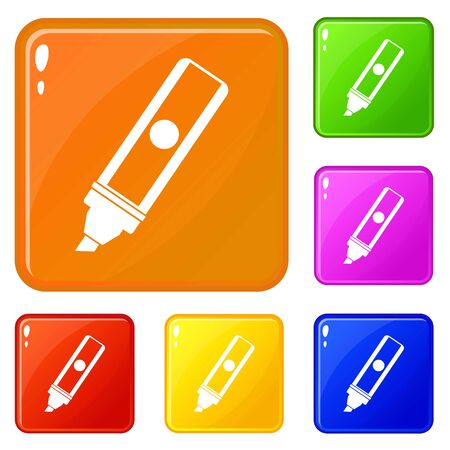 Permanent marker icons set collection vector 6 color isolated on white background