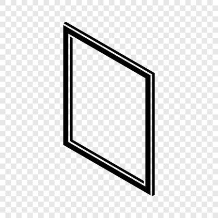 Metal-plastic window frame icon, simple black style