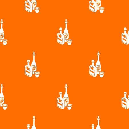 Wine, whiskey bottle pattern vector orange for any web design best