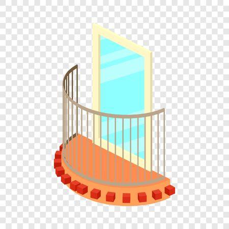 Little balcony icon, isometric 3d style