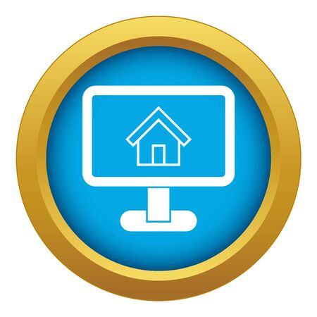 Layout of house icon blue vector isolated