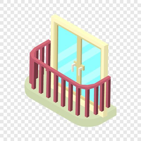 Stylish balcony icon, isometric 3d style