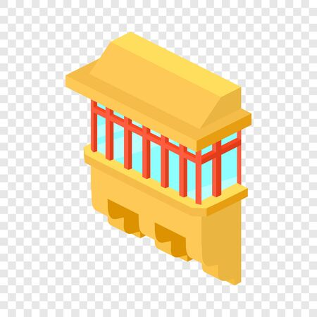 Yellow balcony icon, isometric 3d style Vectores