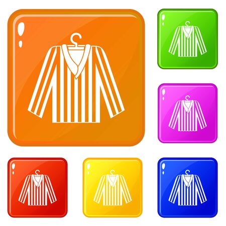 Striped pajama shirt icons set collection vector 6 color isolated on white background