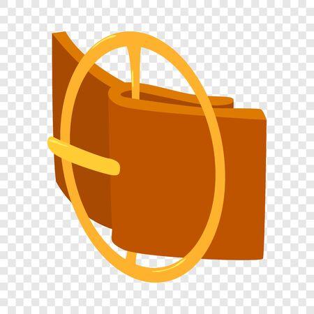 Circular belt buckle icon. Isometric illustration of circular belt buckle vector icon for web Çizim