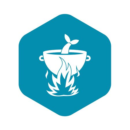 Fish soup on a fire icon. Simple illustration of fish soup on a fire vector icon for web