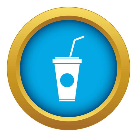 Paper cup with straw icon blue vector isolated on white background for any design
