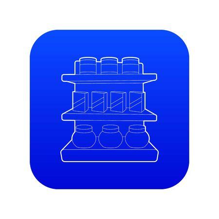 Shop shelves icon blue vector isolated on white background Illustration