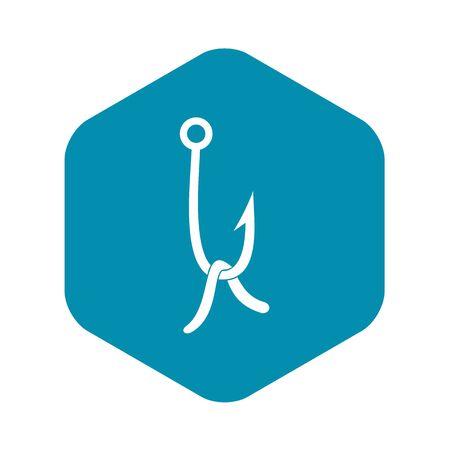 Fish hook with earthworm icon. Simple illustration of fish hook with earthworm vector icon for web Иллюстрация
