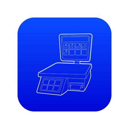 Shop scale icon blue vector