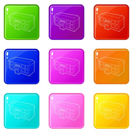 School building icons set 9 color collection isolated on white for any design