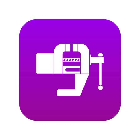 Vise tool icon digital purple for any design isolated on white vector illustration Ilustração