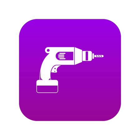 Drill icon digital purple for any design isolated on white vector illustration