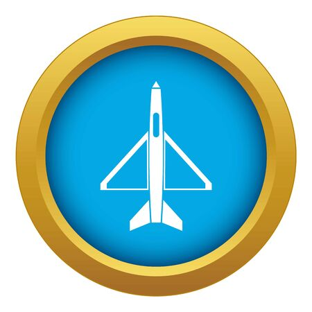 Military aircraft icon blue vector isolated on white background for any design Illustration