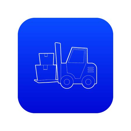 Forklift icon blue vector isolated on white background Illustration