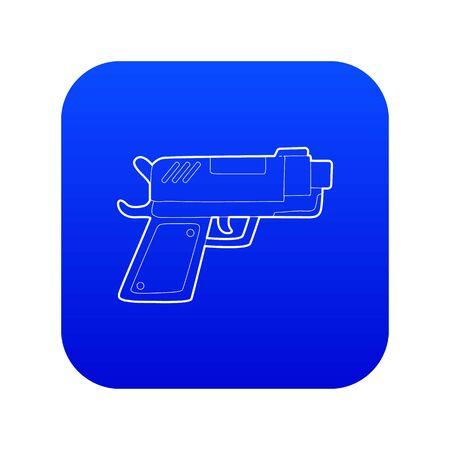 Gun icon blue vector