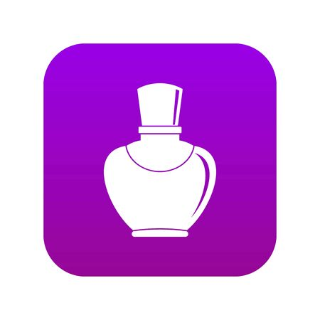 Glass bottle with perfume icon digital purple