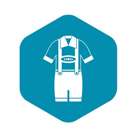 T-shirt and pants with suspenders icon. Simple illustration of t-shirt and pants with suspenders vector icon for web Çizim