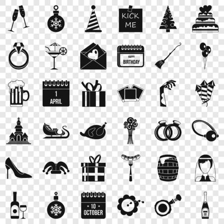 Holiday icons set, simple style Иллюстрация