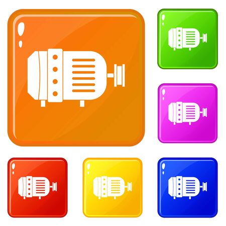 Electric motor icons set vector color  イラスト・ベクター素材