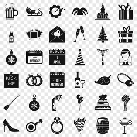 Present icons set, simple style