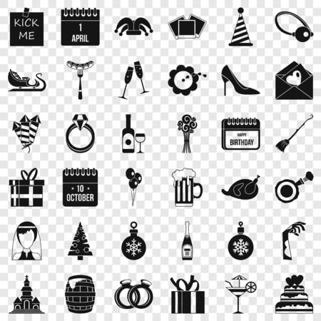 Gift icons set, simple style