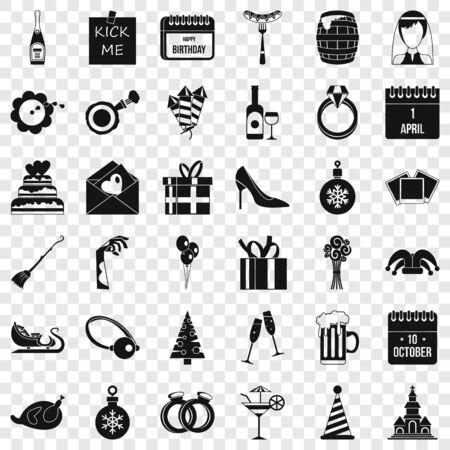October icons set, simple style Иллюстрация