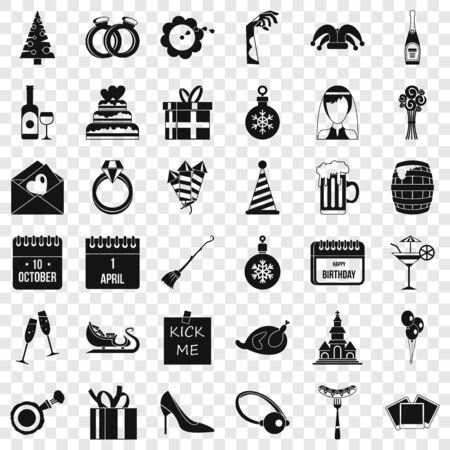 Romance icons set, simple style