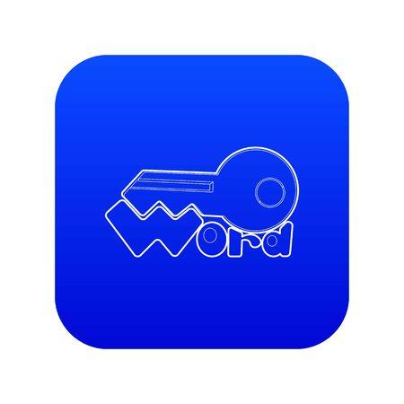 Key icon blue vector Ilustração