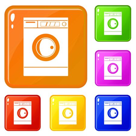 Washing machine icons set vector color