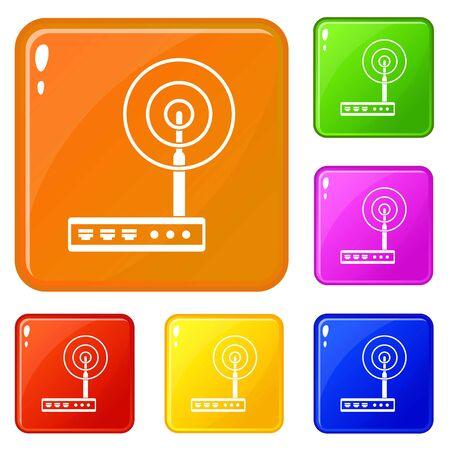 Wifi router icons set vector color Vecteurs