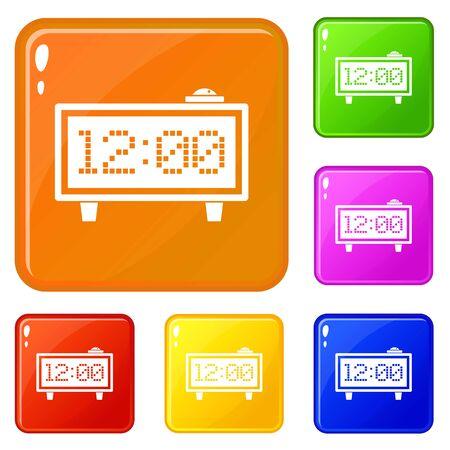 Alarm clock icons set vector color