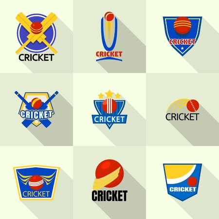 Cricket icon set, flat style